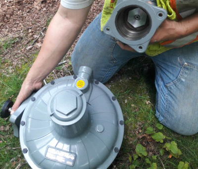 Gas Fitters - installing the new gas regulator - gas installation
